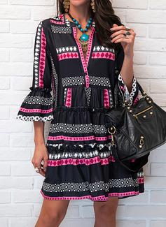 Print Skiftekjoler Flare-ærmer Lange ærmer Mini Casual Tunika Mode kjoler