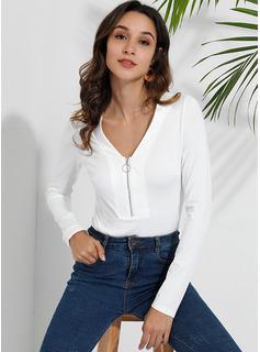 Sólido Manga larga Algodón Escote en V camiseta Blusas