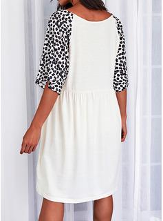 Leopard Print Shift Short Sleeves Midi Casual Tunic Dresses