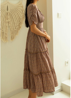 Impresión Vestido línea A Manga Corta Midi Casual Patinador Vestidos de moda