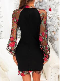 フローラル 印刷 ボディコンドレス 長袖 ミニ パーティー エレガント ファッションドレス