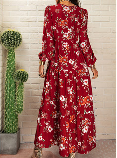 Floral Print A-line Long Sleeves Maxi Casual Skater Dresses
