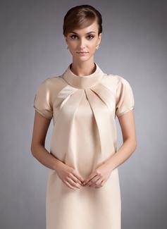Çan Yüksek Boyun Diz Hizası Saten Hamile Nedime Elbisesi Ile Büzgü