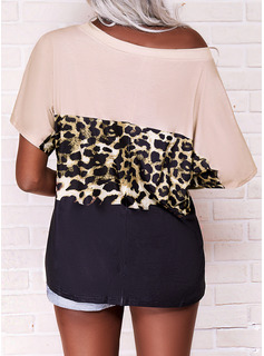 Leopardo Trozos de color Cuello Redondo Manga Corta Casual Blusas