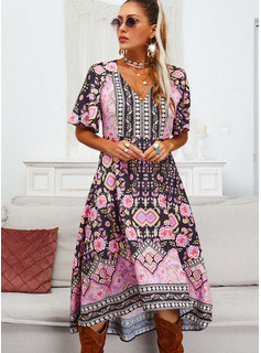 Floral Print A-line 1/2 Sleeves Flare Sleeve Asymmetrical Casual Skater Dresses
