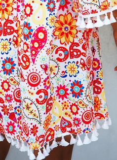 Blomster Print Skiftekjoler 3/4 ærmer Flare-ærmer Mini Boho Casual Ferie Tunika Mode kjoler