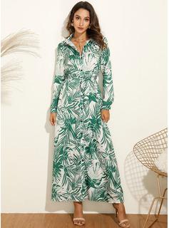 Druck A-Linien-Kleid Lange Ärmel Maxi Lässige Kleidung Urlaub Hemdkleider Modekleider