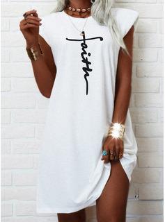 Print Letter Shift Cap Sleeve Mini Casual T-shirt Dresses