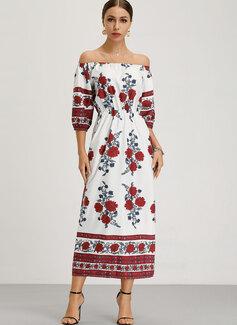 Maxi Dekolt typu Carmen Bawełna Wydrukować Rękaw 1/2/Długie rękawy Modne Suknie