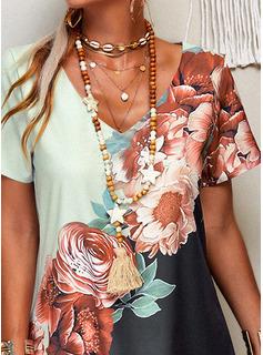 Color Block Floral Print Shift Short Sleeves Mini Casual Vacation Tunic Dresses