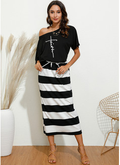 Midi One Shoulder Cotton Blends Print Short Sleeves Fashion Dresses