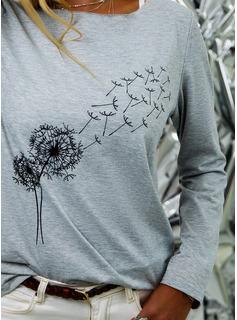 Print Rund hals Lange ærmer Casual T-shirt