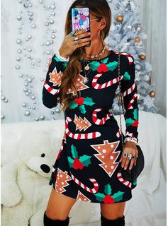 Stampa Abiti dritti Maniche lunghe Midi Natale Tunica Vestiti di moda