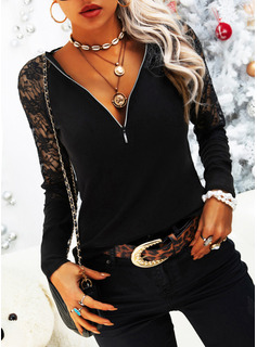 Lace Solid V-Neck Long Sleeves Casual Elegant Blouses