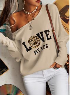 leopardo Figura Stampa Una spalla Maniche lunghe Casuale Camicie