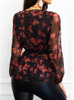 Floral Impresión Cuello en V Manga Larga Con Botones Elegante Blusas