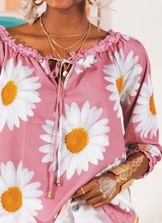 Wydrukować Kwiatowy Długie rękawy Poliester Dekolt typu carmen Bluzki