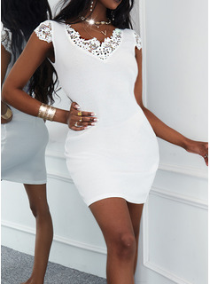 Solid Sheath Short Sleeves Mini Casual Dresses