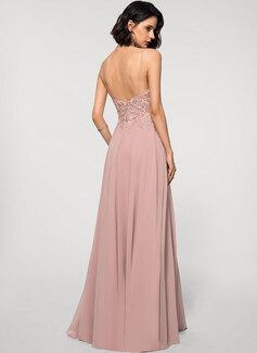 A-Line V-neck Floor-Length Chiffon Lace Evening Dress