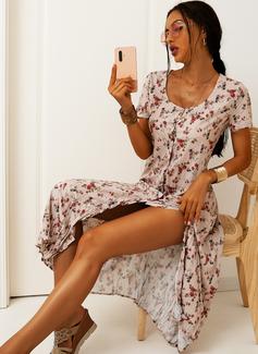 Fleurie Imprimé Fourreau Manches Courtes Midi Décontractée Vacances Robes tendance