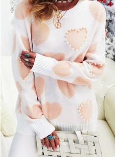 Round Neck Casual Beaded Print Sweaters