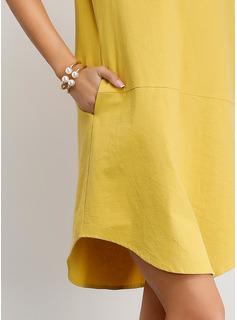 Nad kolanem Litera V Bawełna Jednolity Krótkie Rękawy Modne Suknie