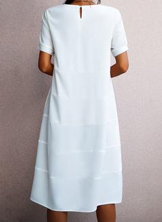 Solid Kjole med A-linje Korte ærmer Midi Casual Ferie skater Mode kjoler