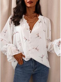 Animale Stampa Scollatura a V Maniche lunghe Bottone Casuale Elegante Camicie