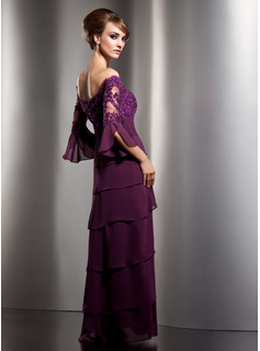A-Line Off-the-Shoulder Floor-Length Chiffon Mother of the Bride Dress With Lace Beading Sequins Bow(s) Cascading Ruffles