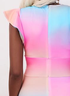Tie Dye Ajustado Manga Corta Midi Elegante Lápiz Vestidos de moda