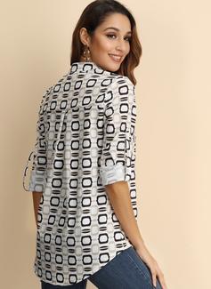Wydrukować Długie rękawy Mieszanki bawełniane Poliester Litera V Koszula Bluzki Bluzki