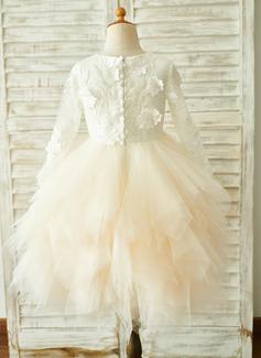 Robe Marquise/Princesse Longueur genou Robes à Fleurs pour Filles - Tulle/Dentelle Manches longues Col rond