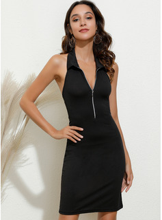 Above Knee Shirt collar Polyester Print Sleeveless Fashion Dresses