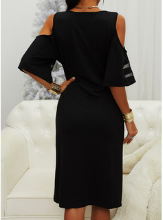 Solid Bodycon 1/2 Sleeves Cold Shoulder Sleeve Midi Little Black Casual Pencil Dresses
