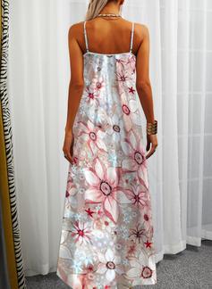 Floral Impresión Vestidos sueltos Sin mangas Maxi Casual Vacaciones Tipo Vestidos de moda