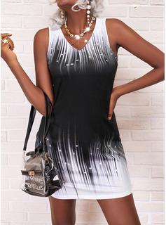Print Gradient Shift Sleeveless Mini Elegant Dresses