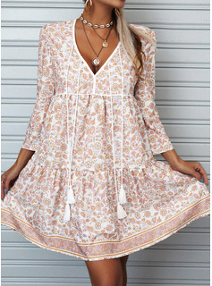 フローラル 印刷 シフトドレス 3/4袖 ミニ 生きます カジュアル 休暇 チュニック ファッションドレス