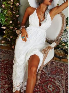 Lace Solid A-line Sleeveless Maxi Party Sexy Skater Type Dresses