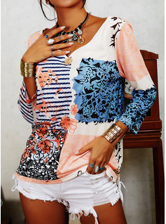 Geometrisch Druck gestreift V-Ausschnitt 3/4 Ärmel Lässige Kleidung Blusen