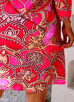 Druck Etuikleider 1/2 Ärmel Midi Lässige Kleidung Urlaub Tunika Modekleider
