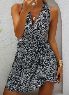 Nadruk Pokrowiec Bez Rękawów Mini Nieformalny Okrycie Modne Suknie