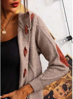 Mit Kapuze Lässige Kleidung Lange Farbblock Pullover