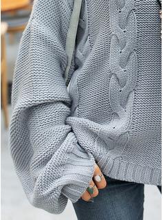 Rollkragen Lässige Kleidung Einfarbig Zopfmuster Pullover