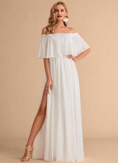 A-Line Floor-Length Chiffon Wedding Dress With Split Front