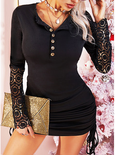 Spitze Einfarbig Figurbetont Lange Ärmel Mini Kleine Schwarze Lässige Kleidung Modekleider