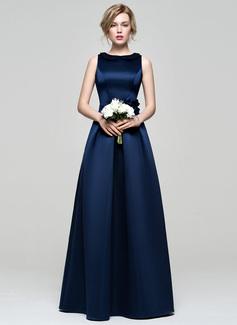 A-Line/Princess Scoop Neck Floor-Length Satin Bridesmaid Dress With Flower(s)