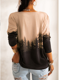 Wald Druck Rundhalsausschnitt Lange Ärmel Lässige Kleidung T-shirt