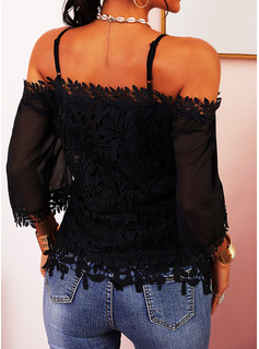 Lace Cold Shoulder 3/4 Sleeves Casual Sexy Blouses