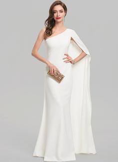 Sheath/Column One-Shoulder Floor-Length Stretch Crepe Evening Dress