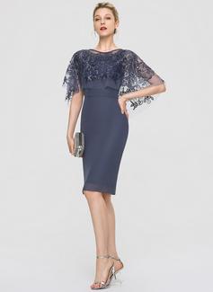 Sheath/Column Scoop Neck Knee-Length Chiffon Cocktail Dress